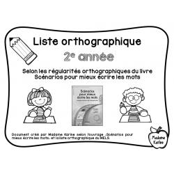 Liste orthographique 2e année et mots étiquettes