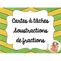 Cartes à tâches soustractions de fractions
