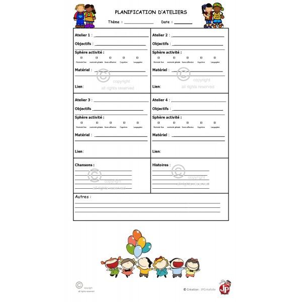 Tableau de planification d'activités/ateliers