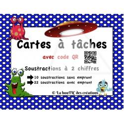 Cartes : soustractions à 2 chiffres avec code QR