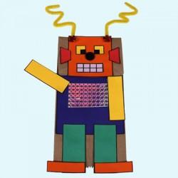 Marionnette robot avec un sac en papier