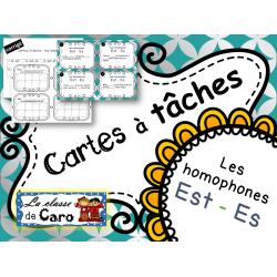 Cartes à tâches - Les homophones est-es