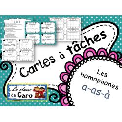 Cartes à tâches - Les homophones a-as-à
