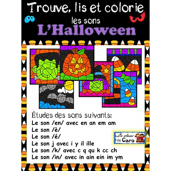 Trouve, lis et colorie les sons - L'HALLOWEEN