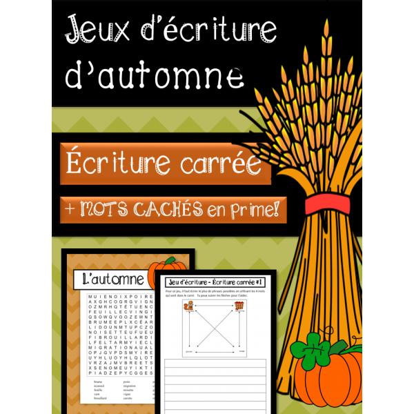 Jeux d'écriture - Écriture carée - L'AUTOMNE