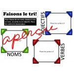 JEU-  TRI des NOMS, ADJECTIFS ET VERBES