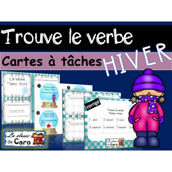 Trouve le verbe - Cartes à tâche - Thème d'HIVER