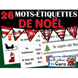26 Mots-étiquettes de NOËL - Imprimable