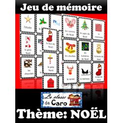 Jeu de mémoire - Vocabulaire de Noël