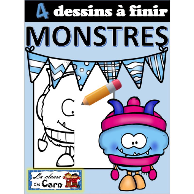 4 dessins finir monstres hiver - Dessins monstres ...