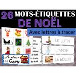 26 Mots-étiquettes de NOËL - Mots à tracer!