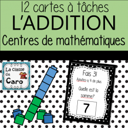 ADDITION -Math -CARTES À TÂCHES - BLOCS UNIFIX
