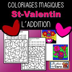 COLORIAGES MAGIQUES - ADDITION - ST-VALENTIN