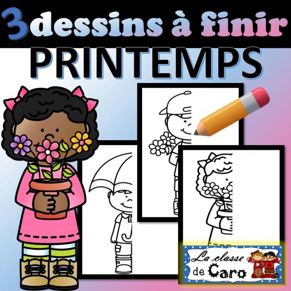 3 dessins à finir - PRINTEMPS