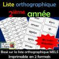Liste orthographique - 2ième année