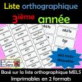 Liste orthographique - 3ième année