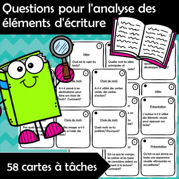 Questions pour l'analyse des éléments d'écriture