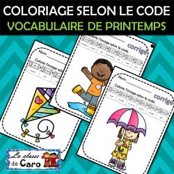 COLORIAGE SELON LE CODE - PRINTEMPS