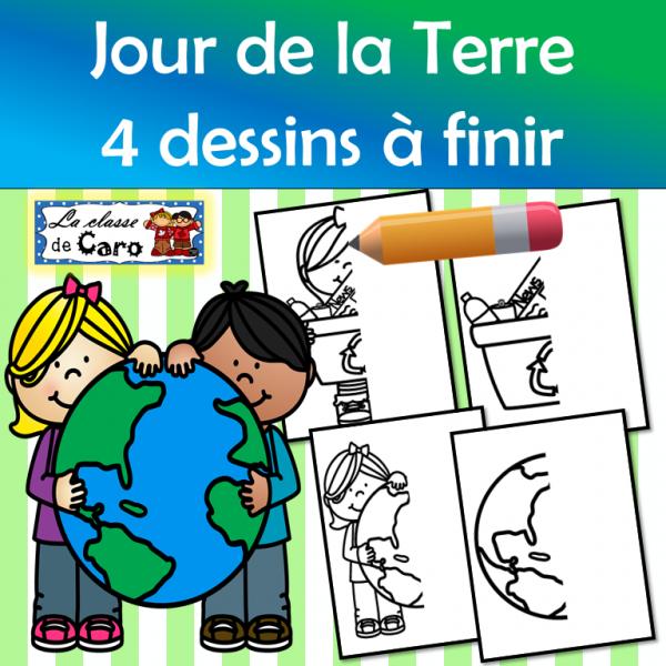 4 dessins à finir - JOUR DE LA TERRE