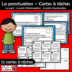 La ponctuation - Cartes à tâches