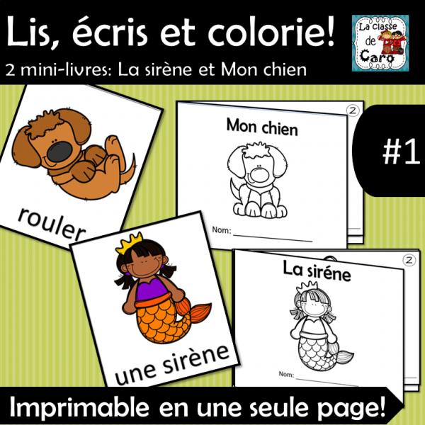 Lis, écris et colorie - 2 mini-livres #1