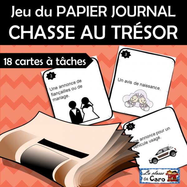 Jeu du PAPIER JOURNAL CHASSE AU TRÉSOR