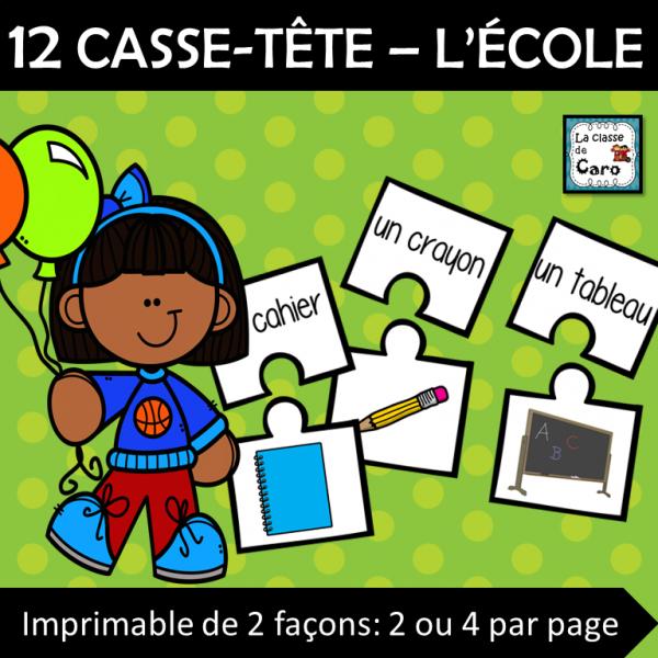 12 CASSE-TÊTE – L'école - La rentrée