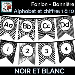 Fanion Alphabet et chiffres 1 à 20 - Noir et blanc