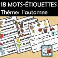 18 MOTS-ÉTIQUETTES Thème:  l'automne