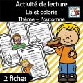 Lis et colorie - Thème: l'automne