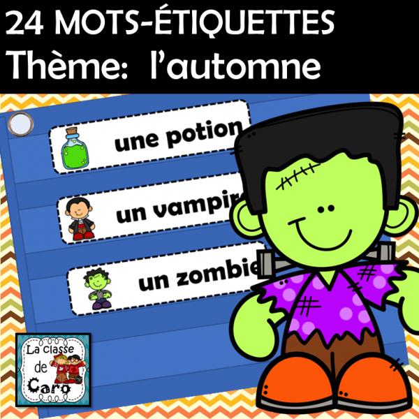 24 MOTS-ÉTIQUETTES Thème: l'automne
