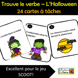 Trouve le verbe – L'Halloween - 24 cartes à tâches