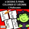 4 DESSINS À FINIR, COLORIER ET DÉCRIRE L'Halloween