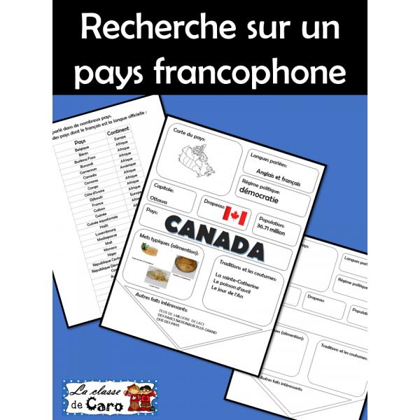 Recherche sur un pays francophone