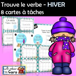 Trouve le verbe - 8 cartes à tâche - Thème d'HIVER