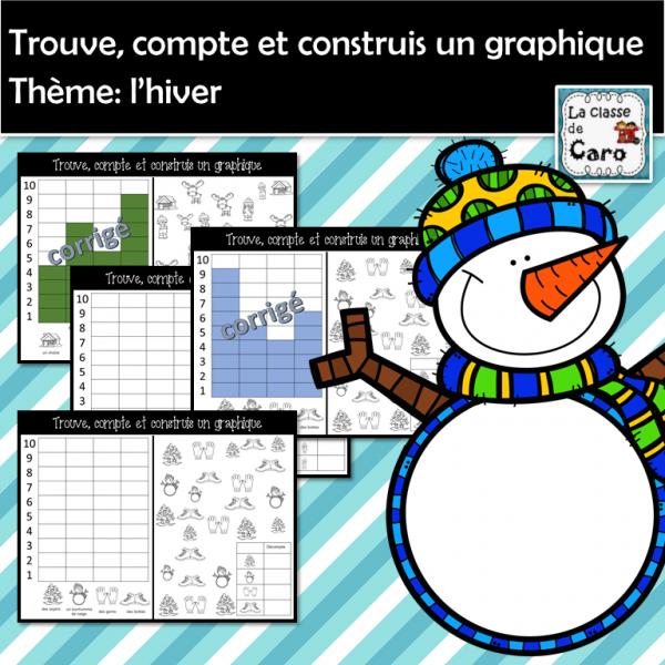 Trouve, colorie et construis un graphique - HIVER