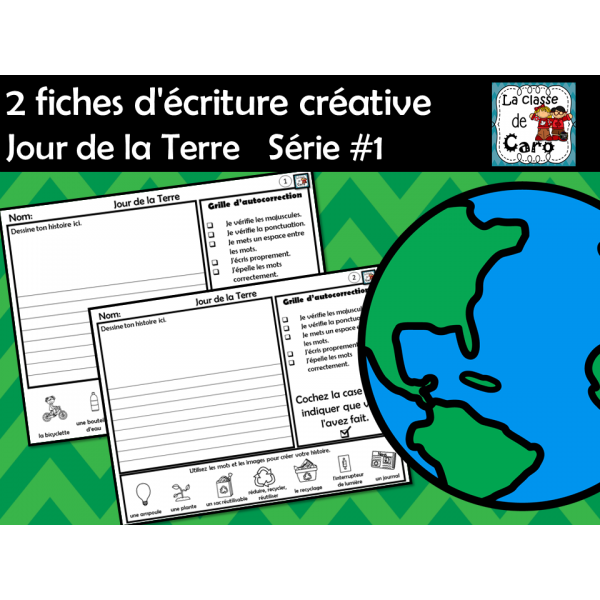2 fiches d'écriture créative Jour de la Terre