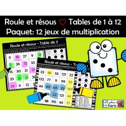 Roule et résous ❤ Tables de 1 à 12 -: 12 jeux