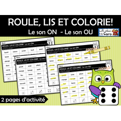 ROULE, LIS ET COLORIE!   Sons: ON, OU