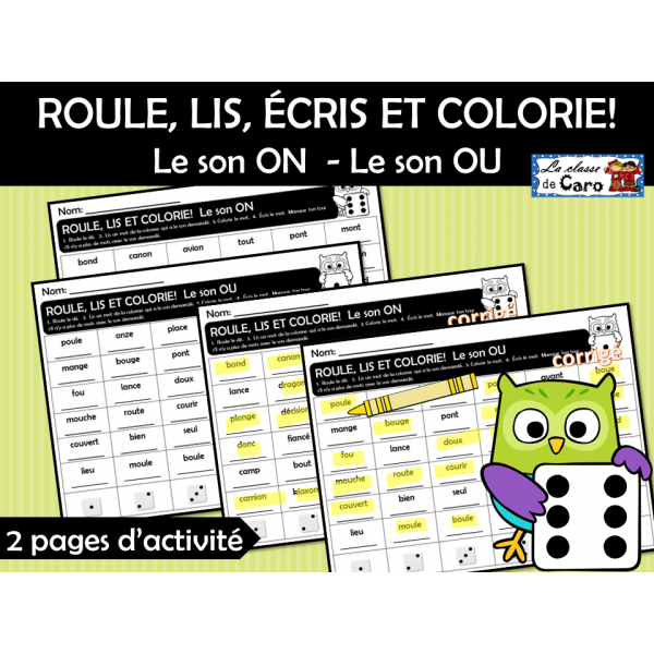 ROULE, LIS, ÉCRIS ET COLORIE!   Sons: ON, OU