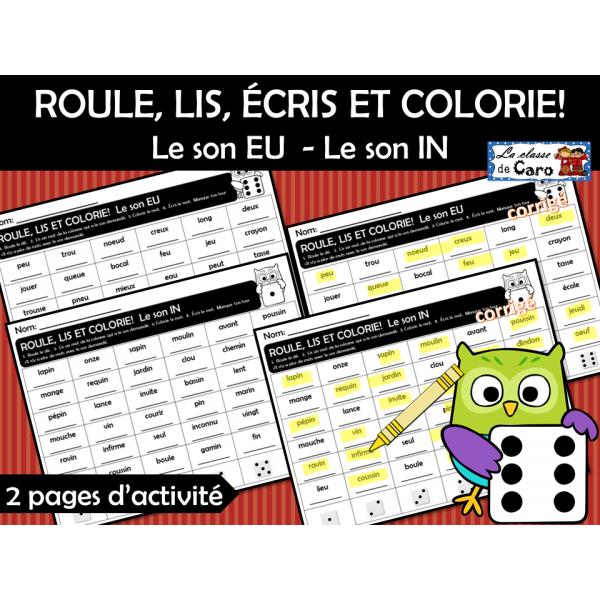 ROULE, LIS, ÉCRIS ET COLORIE!   EU  - IN
