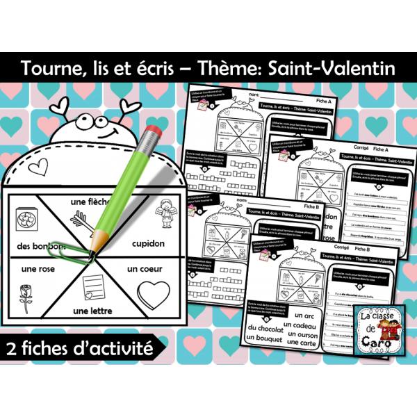 Tourne, lis et écris – Thème: Saint-Valentin