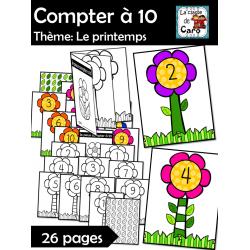 Compter à 10 - Thème: Le printemps - Les fleurs