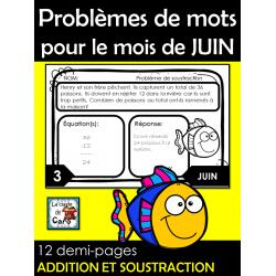 Problèmes de mots  pour le mois de JUIN