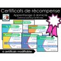 Certificats de récompense modifiables