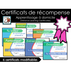 Certificats de récompense modifiables