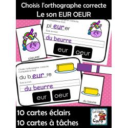 Choisis l'orthographe correcte  Le son EUR OEUR