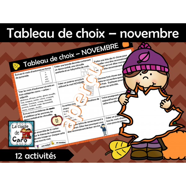 Tableau de choix – novembre