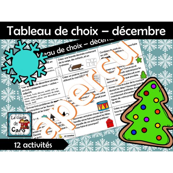 Tableau de choix – décembre