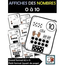 AFFICHES DES NOMBRES 0 à 10